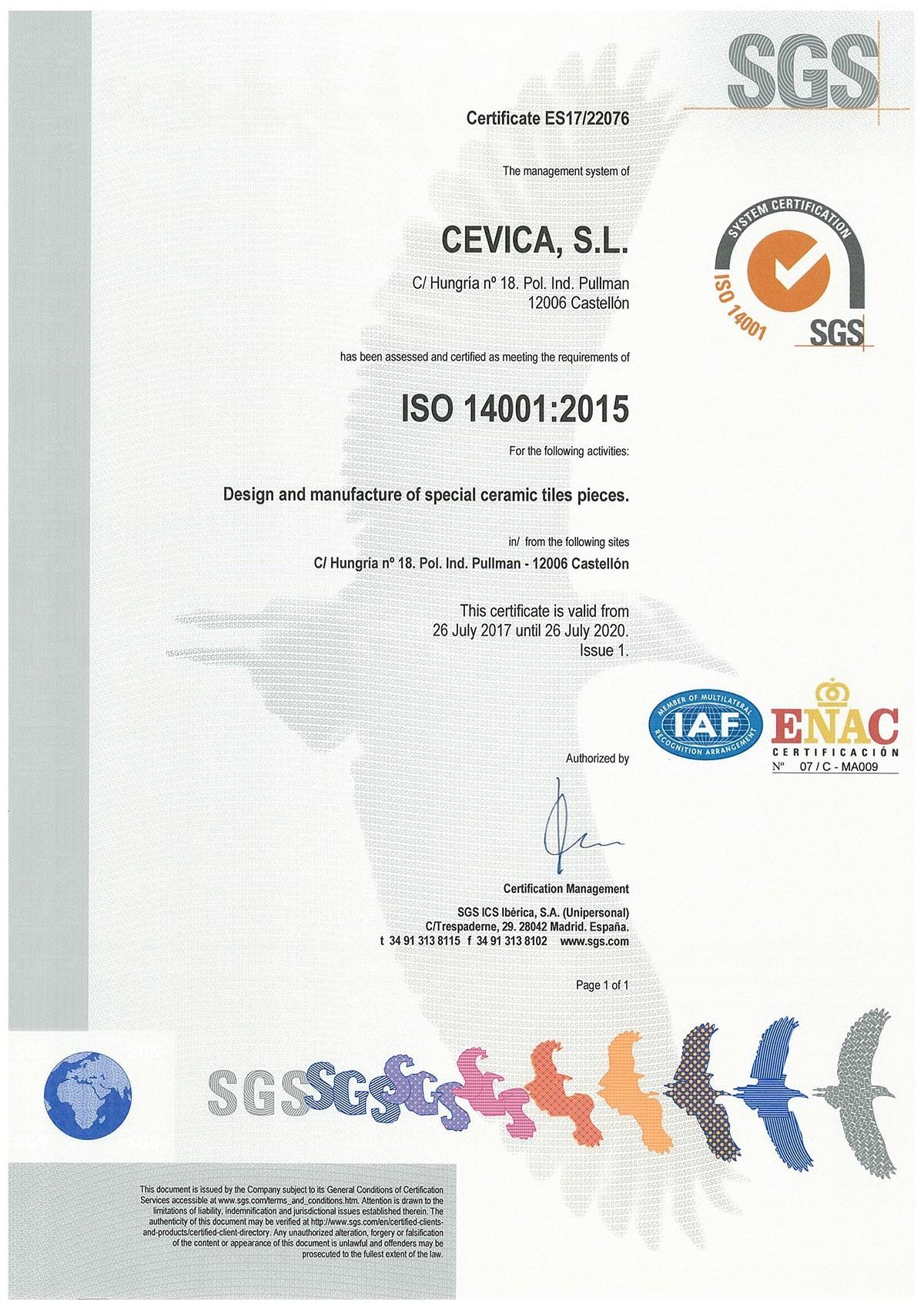 14001 ISO EN CERTIFICATE VALID UNTIL 2020 - CEVICA OBTIENE LA CERTIFICACION INTERNACIONAL ISO 14001:2015 POR LA BUENA GESTION MEDIOAMBIENTAL