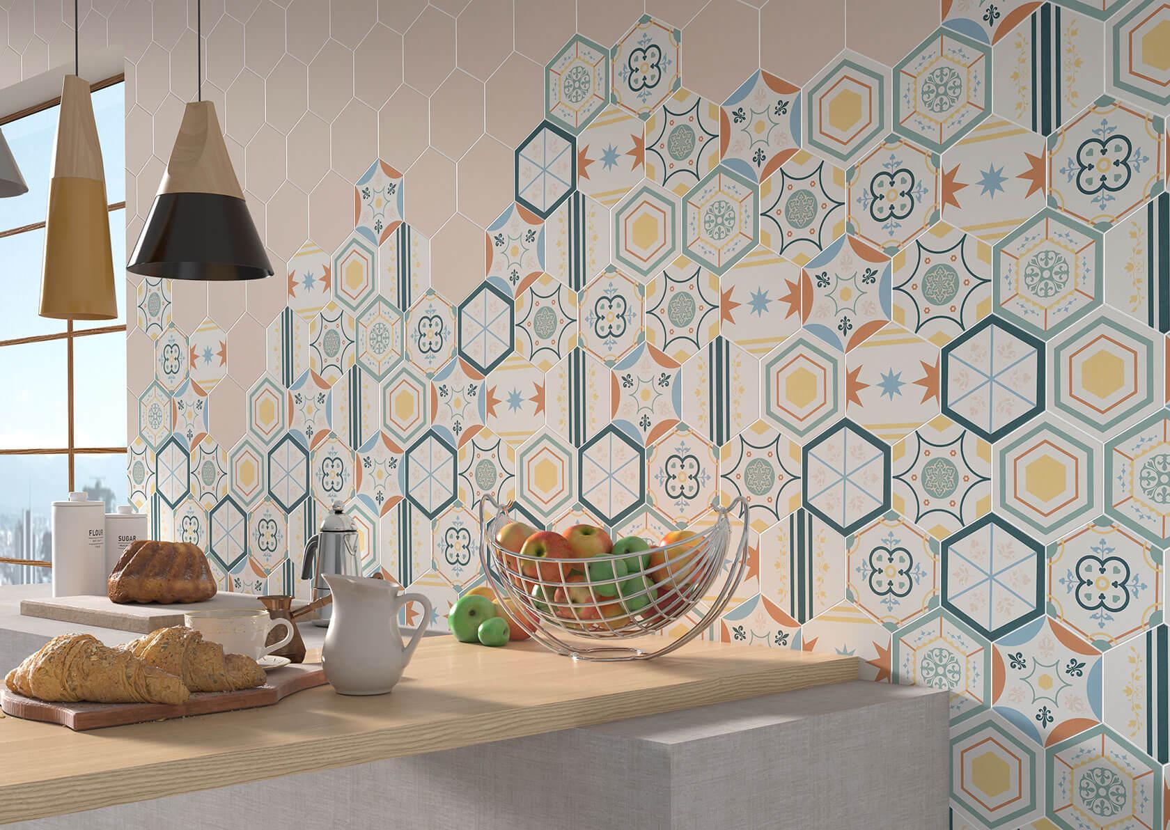 azulejos hexagonales para cocina